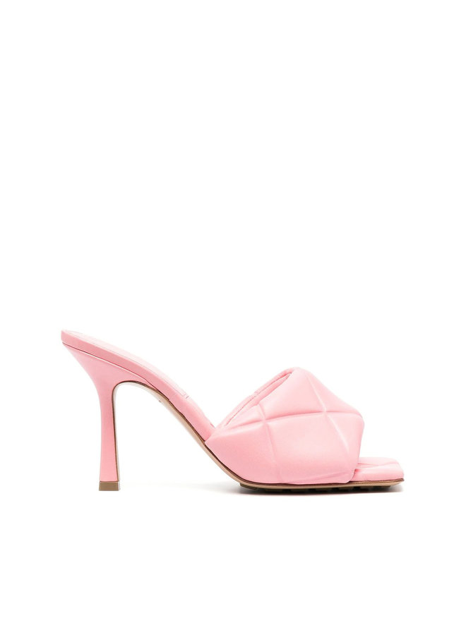 Lido High Heel Mules in Stamped Intrecciato Leather in Pink