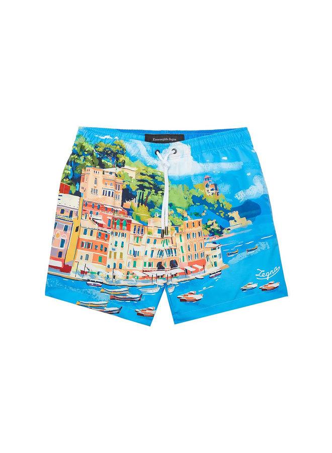Z Zegna Italian Scene-Print Swim Shorts in Light Blue