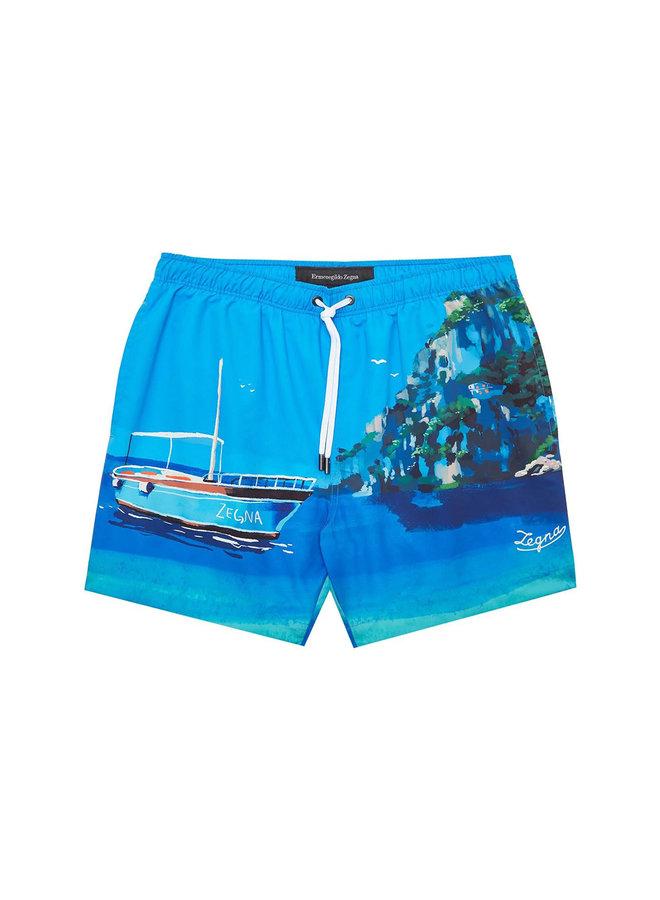 Z Zegna Boat-Print Swim Shorts