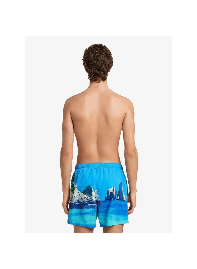 Z Zegna Boat-Print Swim Shorts in Blue