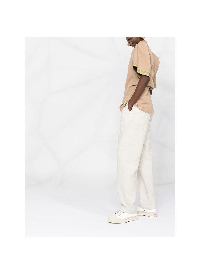 Short Sleeve Shirt in Cotton in Beige