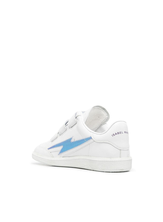 Beth Low Top Touch Strap Sneakers in Leather in White/Purple