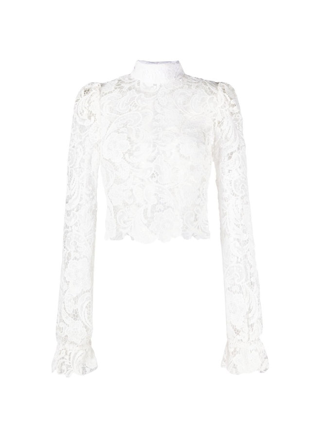 Long Sleeve Top in Floral Lace in White