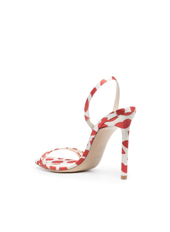 Amber High Heel Sandals in Printed Leather  in White/Red