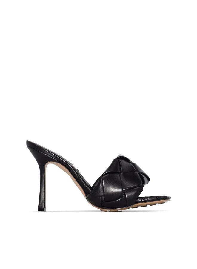 Lido Intrecciato High Heel Mules in Leather in Black