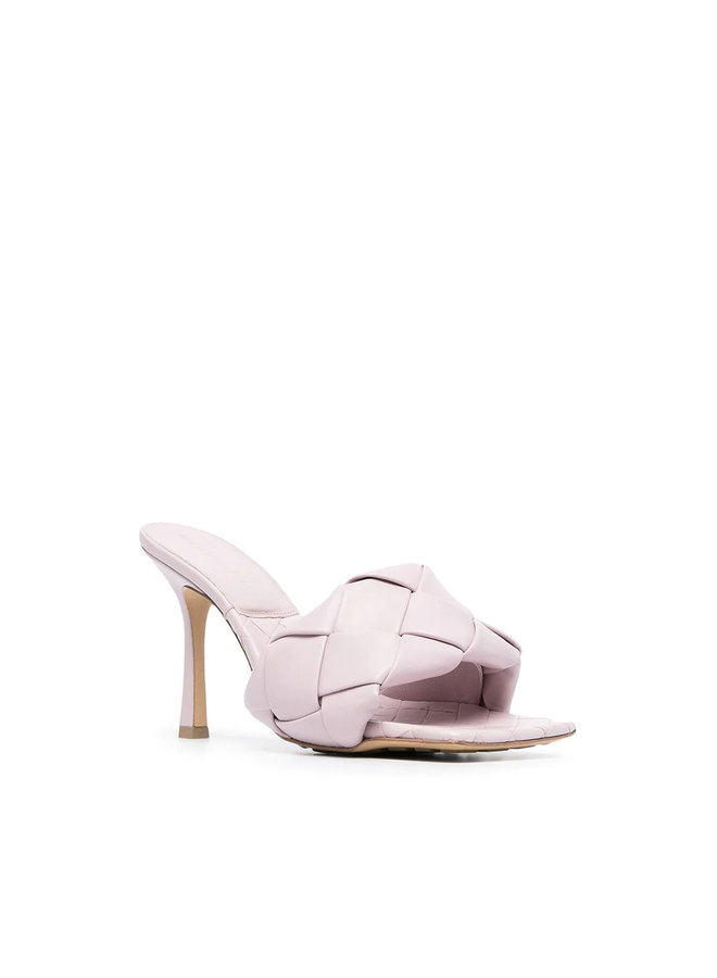 Lido Intrecciato High Heel Mules in Leather in Light Violet