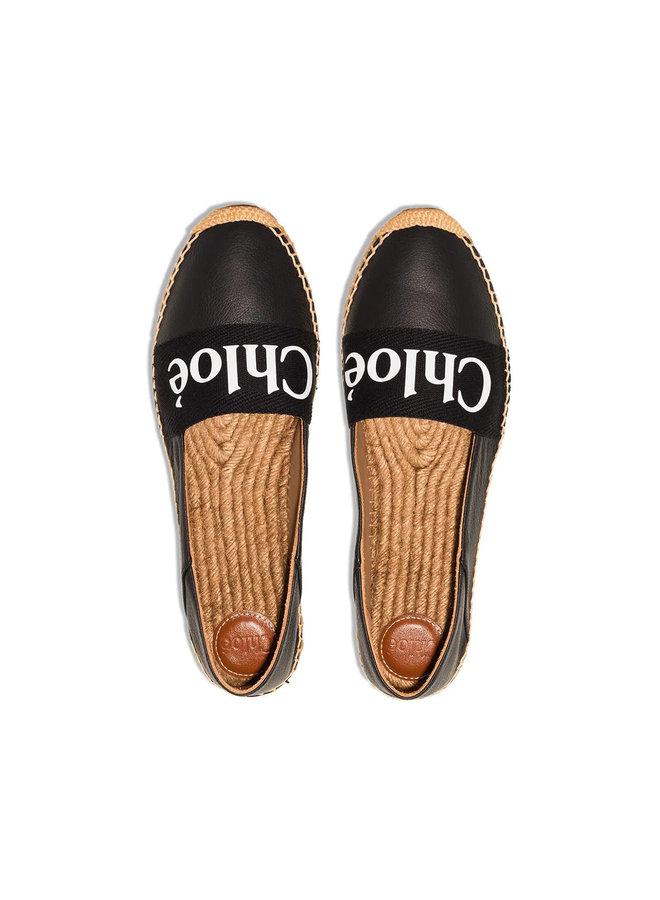 Woody Logo Espadrilles in Leather in Black