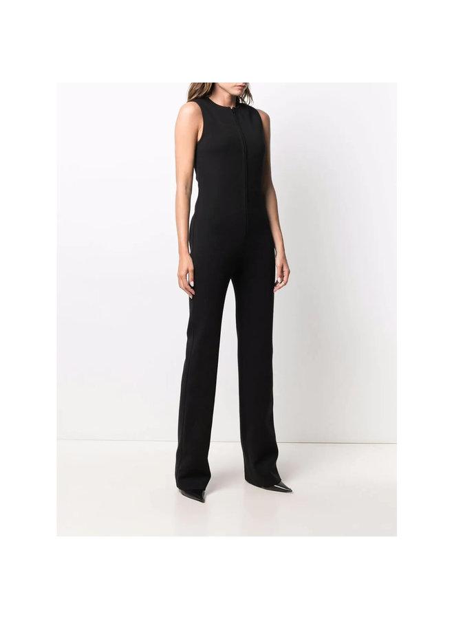 Full Length Sleeveless Jumpsuit in Crepe in Black