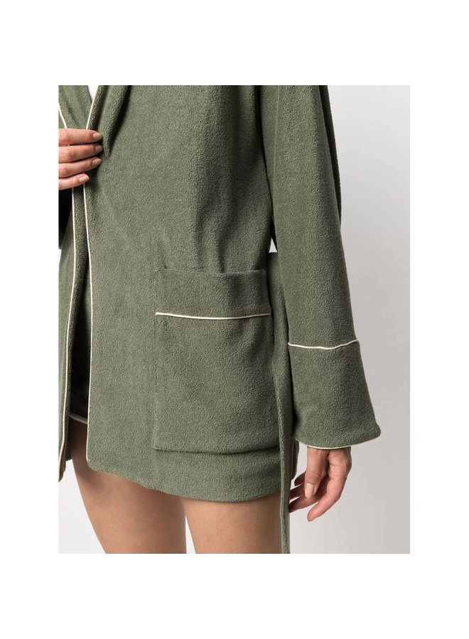 Belted Robe in Cotton in Green