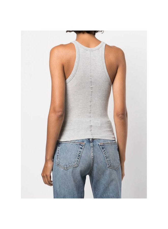 Ribbed Tank Top in Cotton in Heather Grey