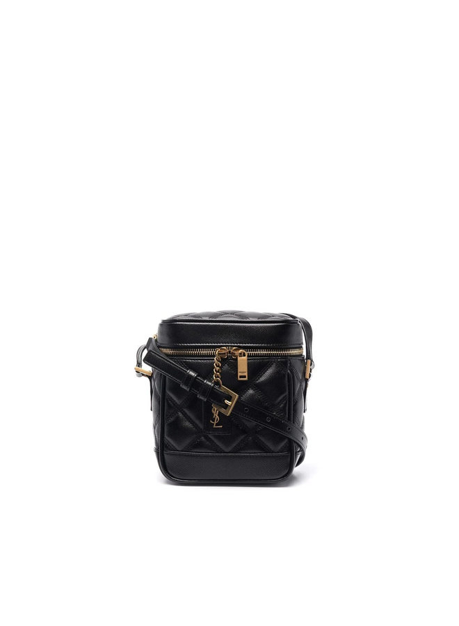 80s Vanity Shoulder Bag in Quilted Leather in Black