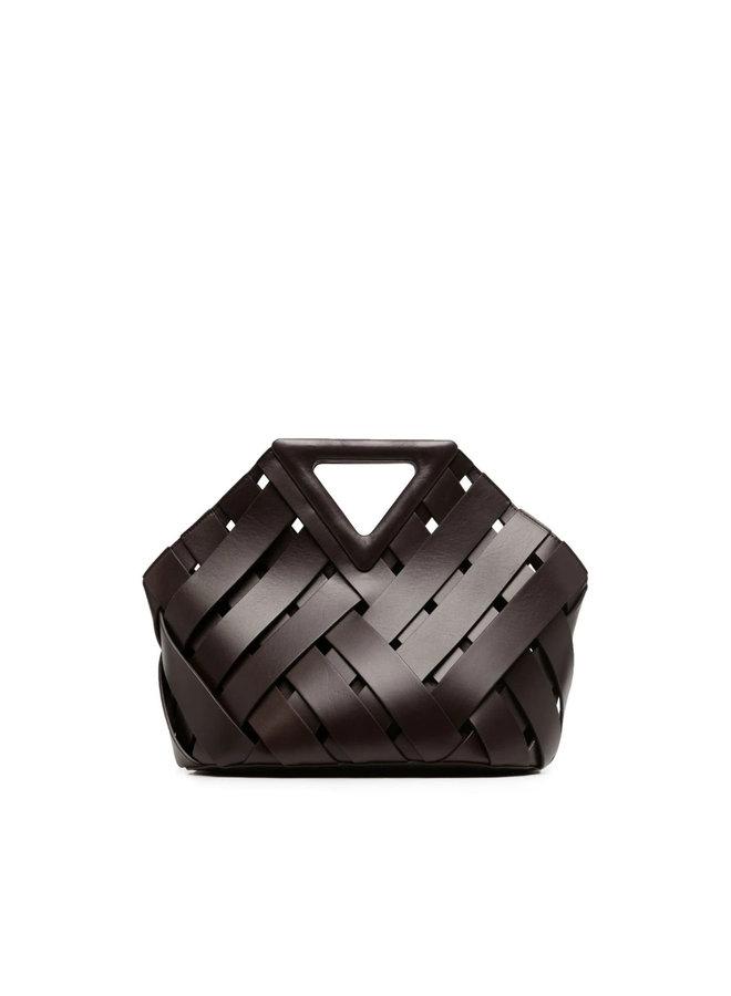 New Triangle Basket in Intrecciato Leather in Fondant