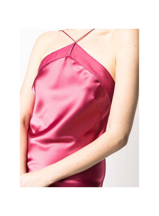 Midi Open Back Dress in Silk in Rasberry