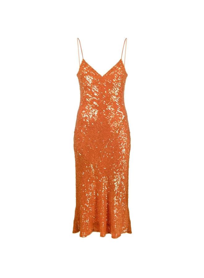 Delirium Sequined Cocktail Midi Dress in Mandarin Orange
