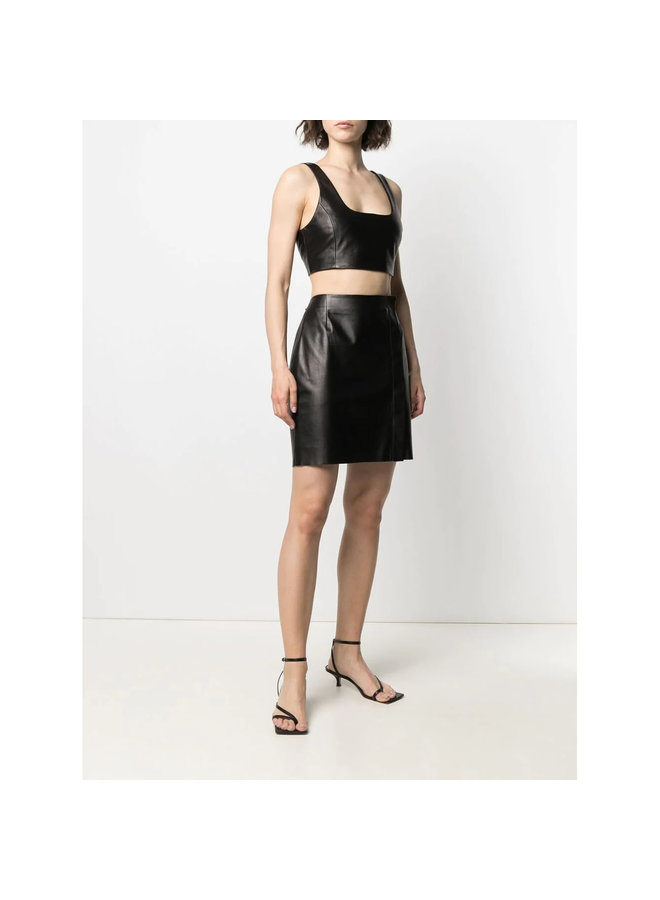 Cropped Top in Leather in Black