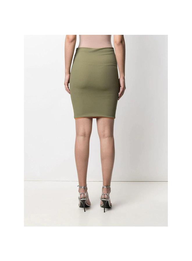 Ribbed Mini Skirt in Military Green