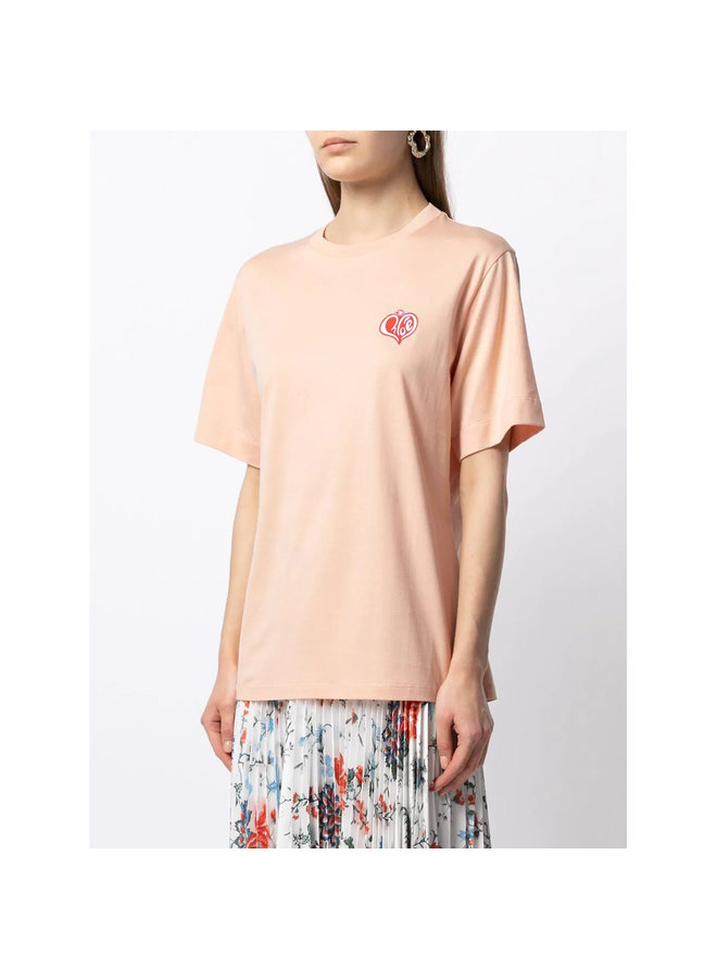 Embroidered Logo T-shirt in Cotton in Lively Orange