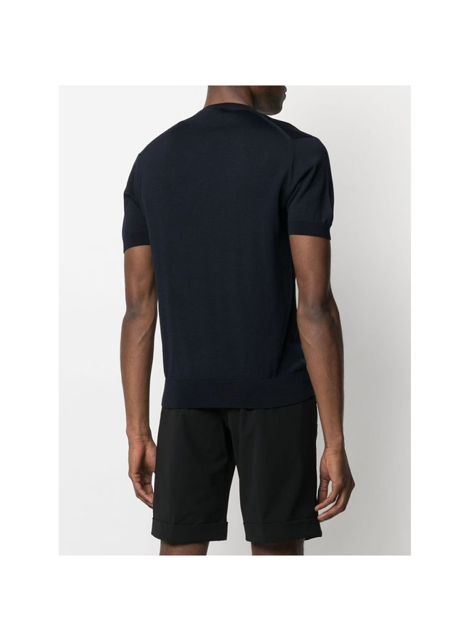 Z Zegna Crew-neck Knitted T-shirt in Cotton in Navy
