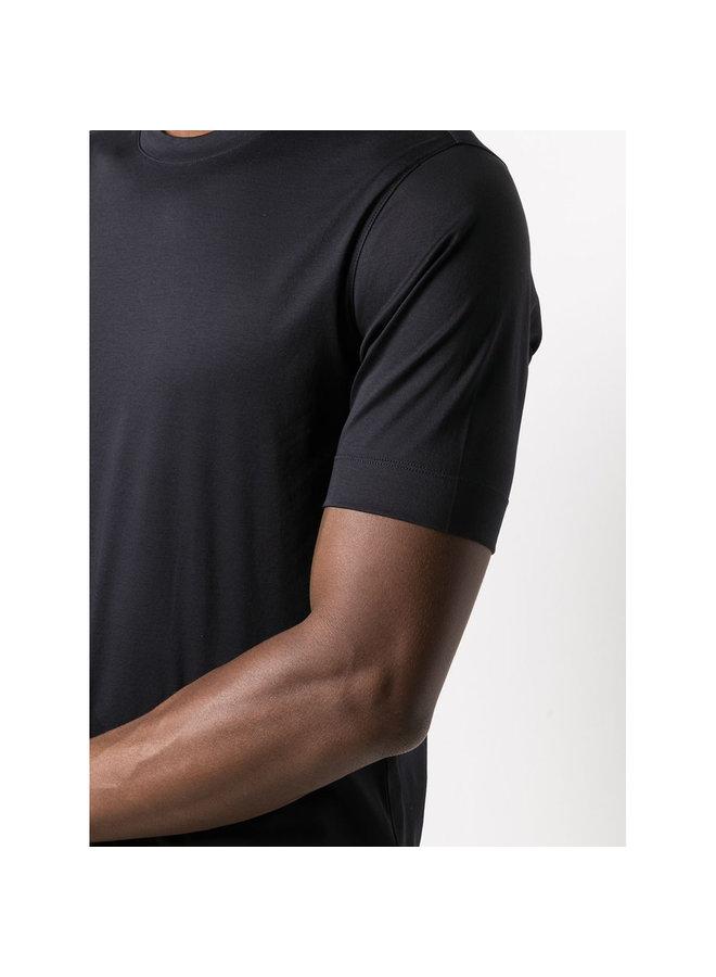 Z Zegna Crew Neck Slim Fit T-Shirt in Cotton in Navy