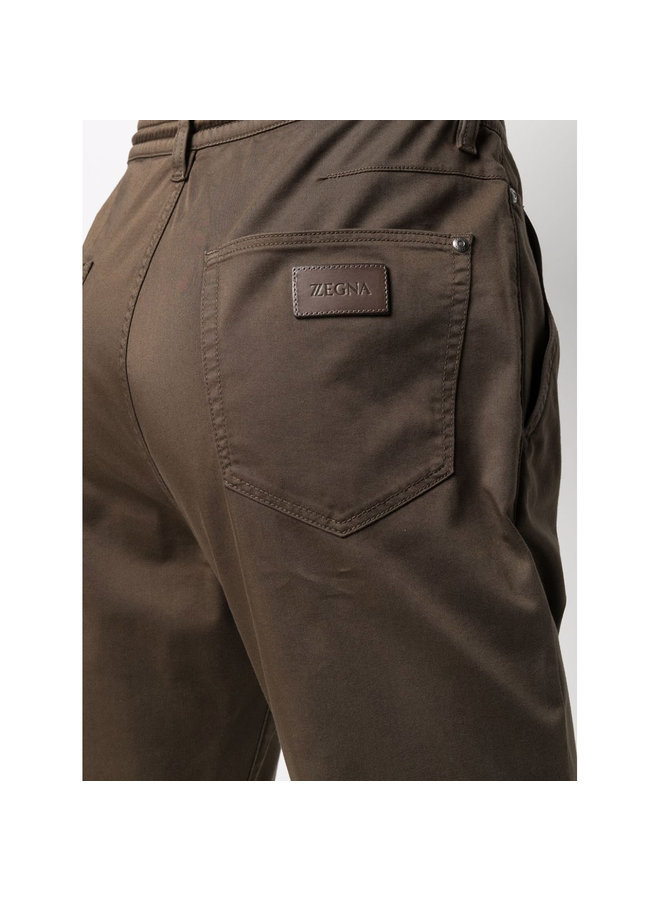 Z Zegna Drawstring Denim Jeans in Cotton in Army Green