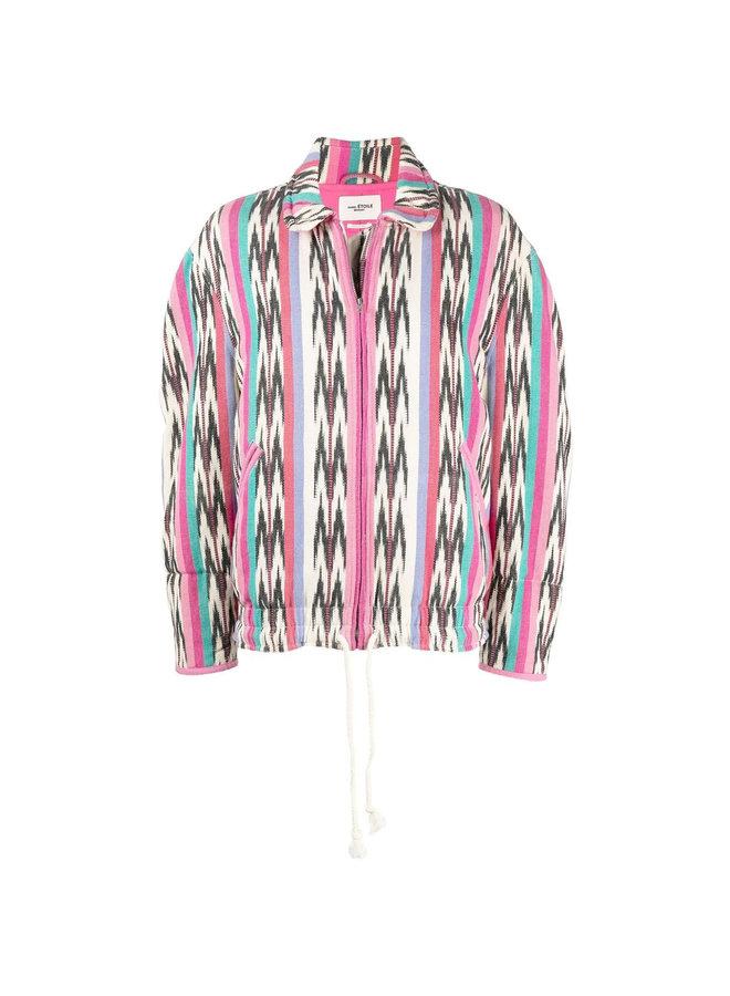 Oversized Jacket in Cotton Jacquard in Ecru