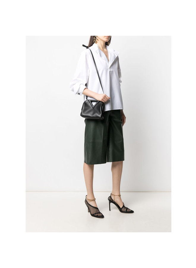 Triangle small Shoulder Bag in Leather in black