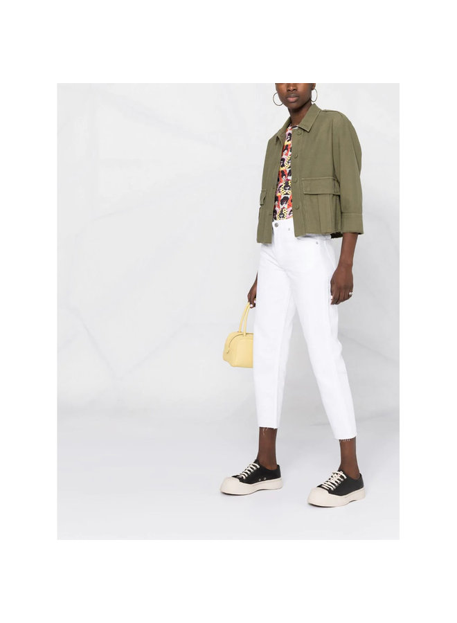 The Tommy High Waist Cropped Jeans in Cotton in Vintage White
