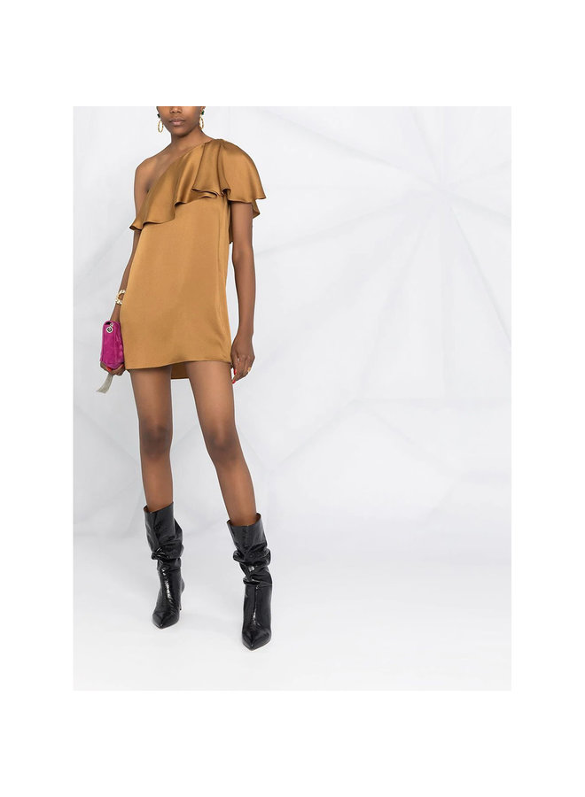 Sleeveless Mini Dress in Silk Satin ,Camel/Ocre