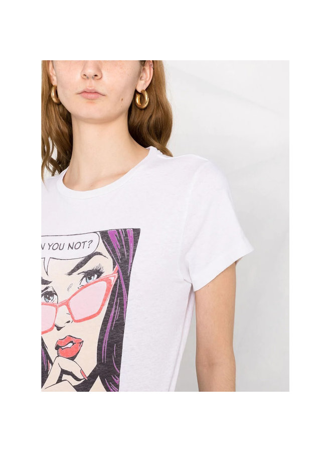 Crew Neck Graphic T-shirt in Cotton in Vintage White
