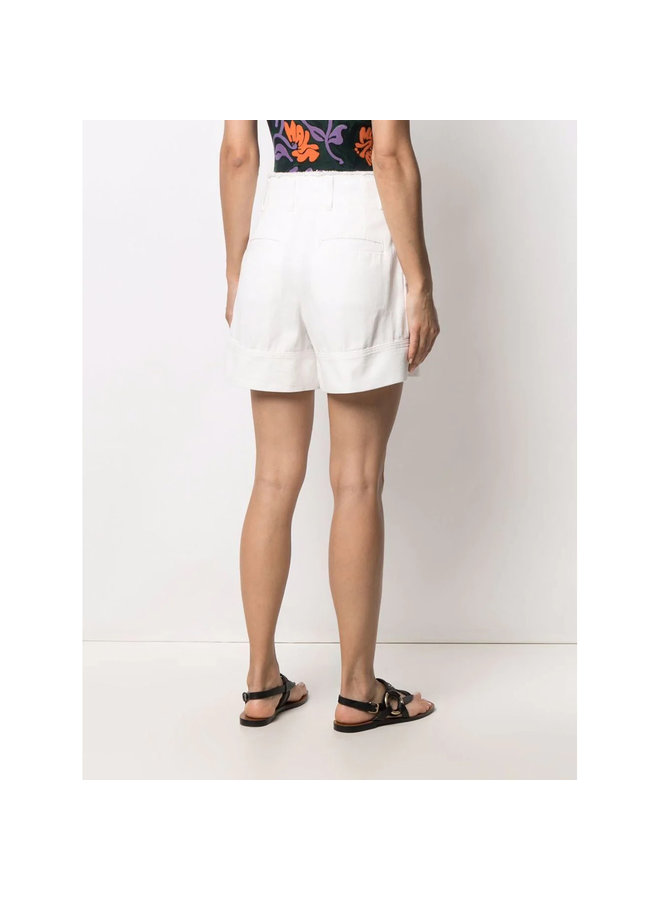 High Waisted Shorts in Cotton in White
