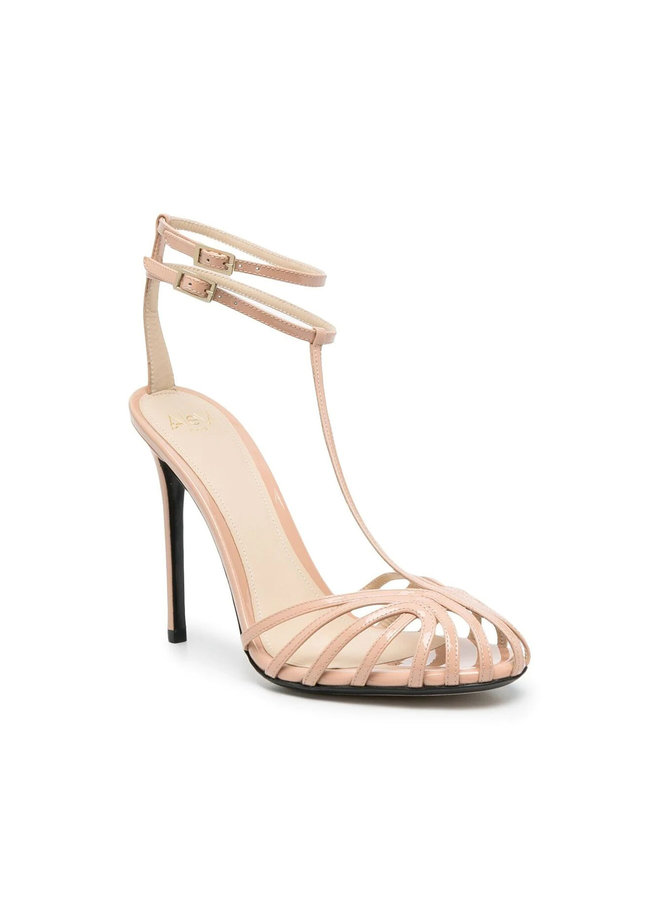 Stella High Heel Sandals in Patent Leather in Nude