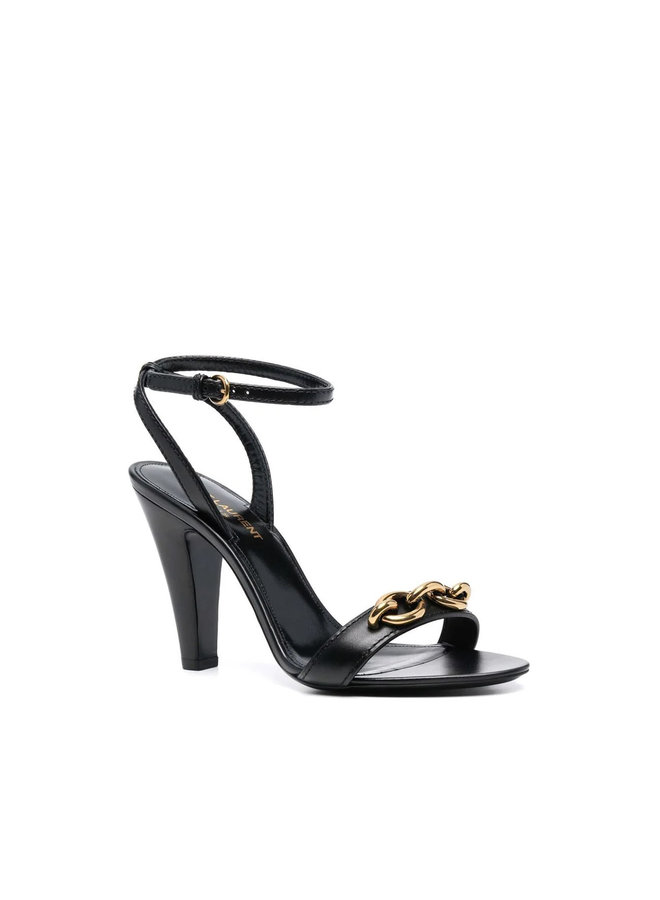 High Heel Sandals in Leather with Chain Detail in Black