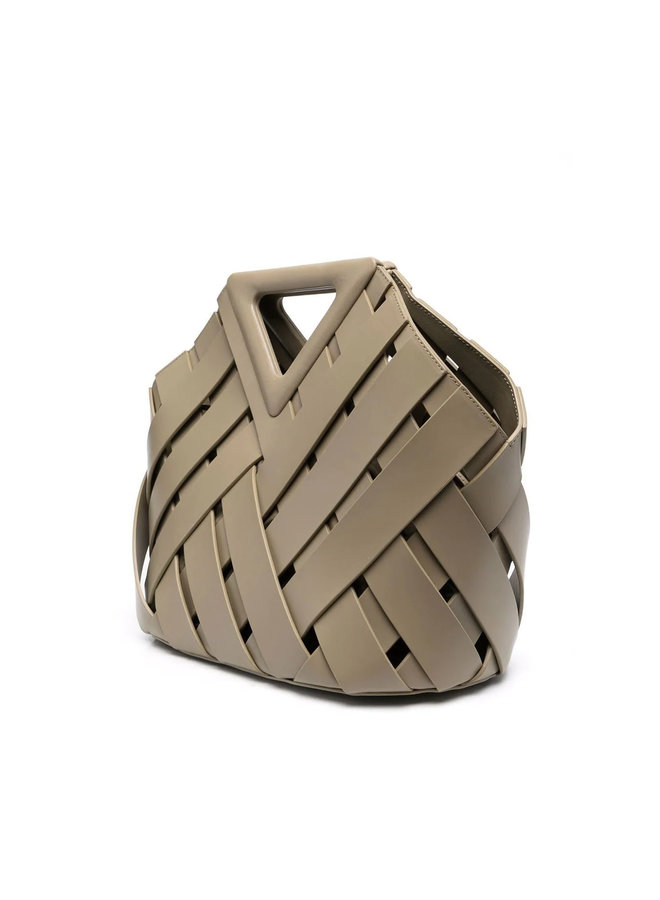 New Triangle Basket in Intrecciato Leather in Taupe