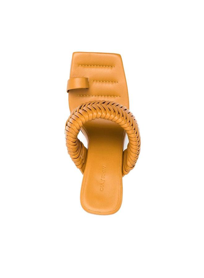 Rosie High Heel Mule in Leather in Golden Brown