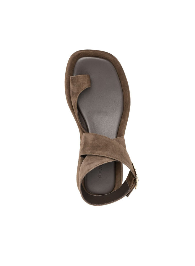 Flat Sandals in Suede in Brown Stone