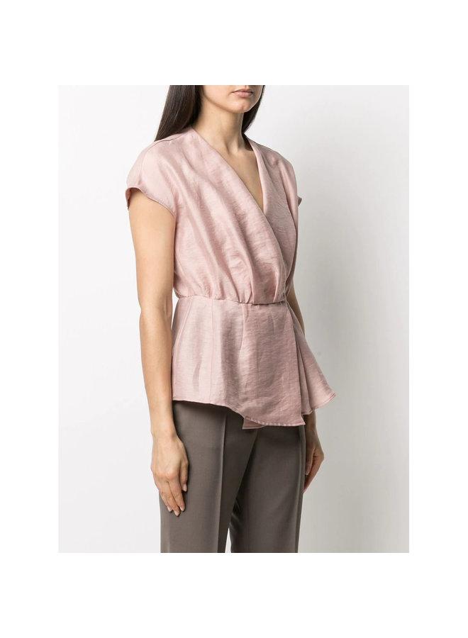 V-neck Peplum Blouse in Linen in Faded Rose