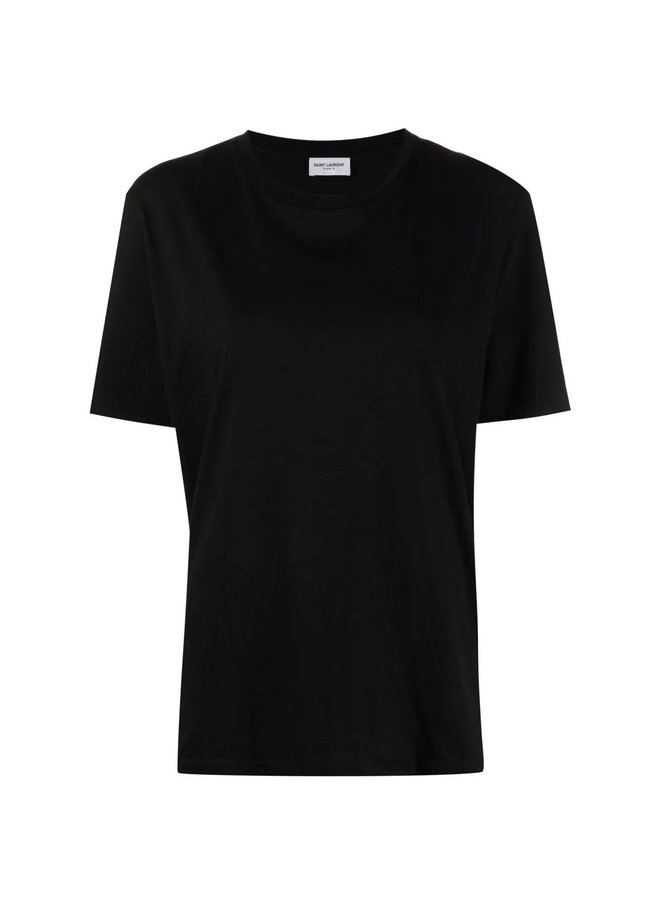 Crew Neck T-shirt with Printed Back in Cotton in Black