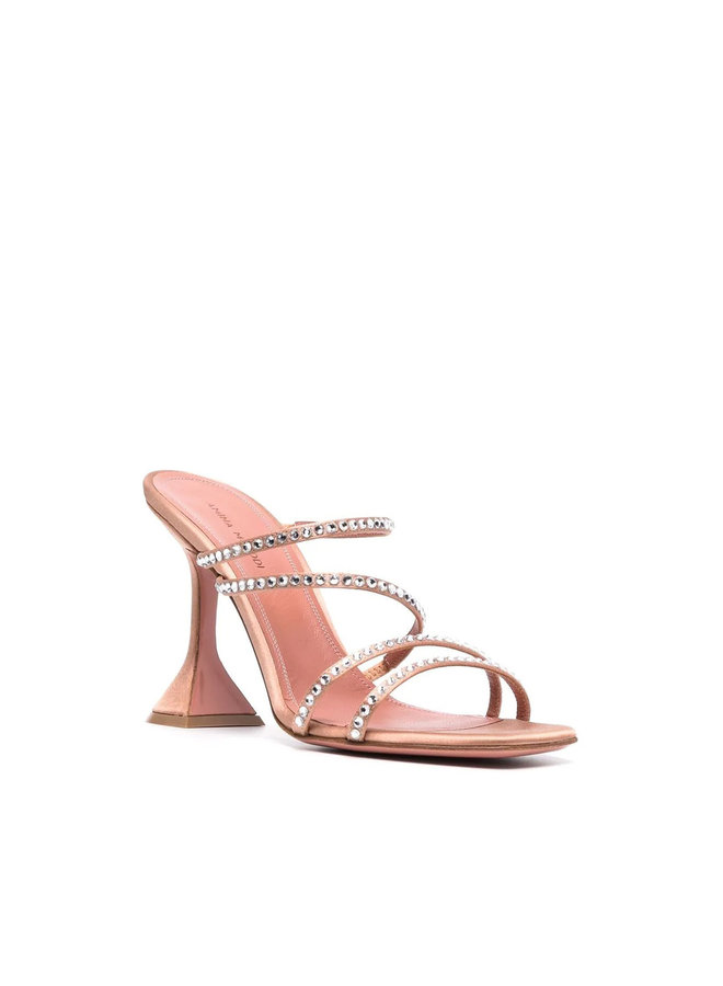 Naima High Heel Mule in Satin with Crystals in Nude