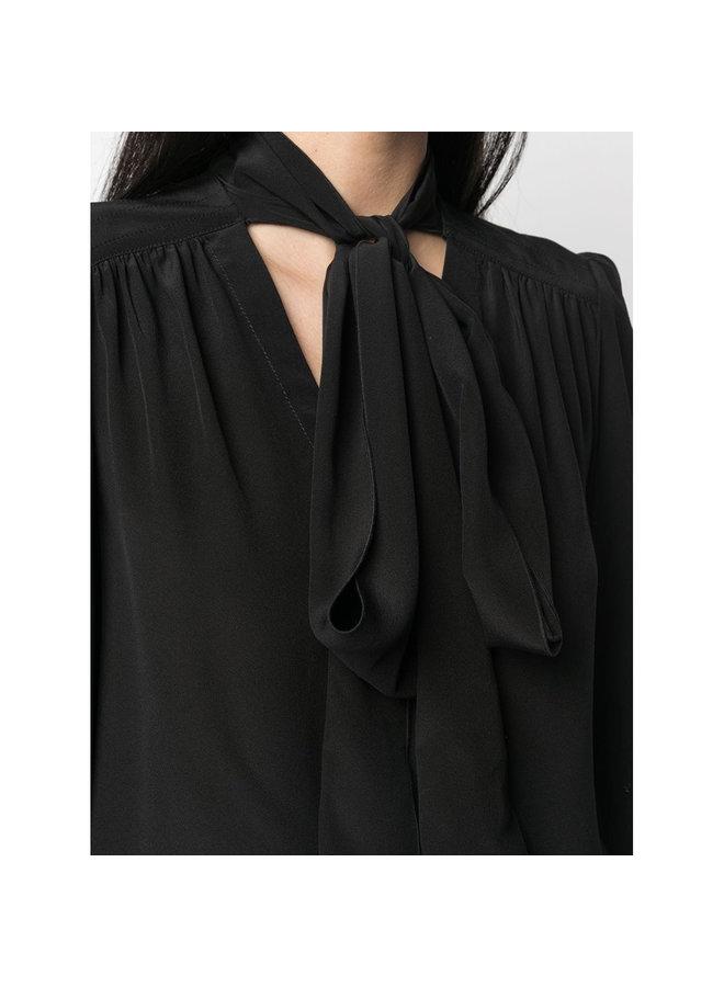 Tie Up Neckline Blouse in Silk in Black
