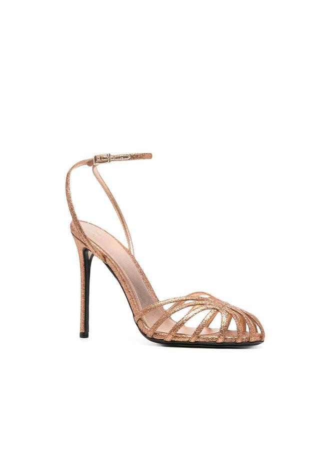 Gloria High Heel Sandals in Shiny Leather in Bronze