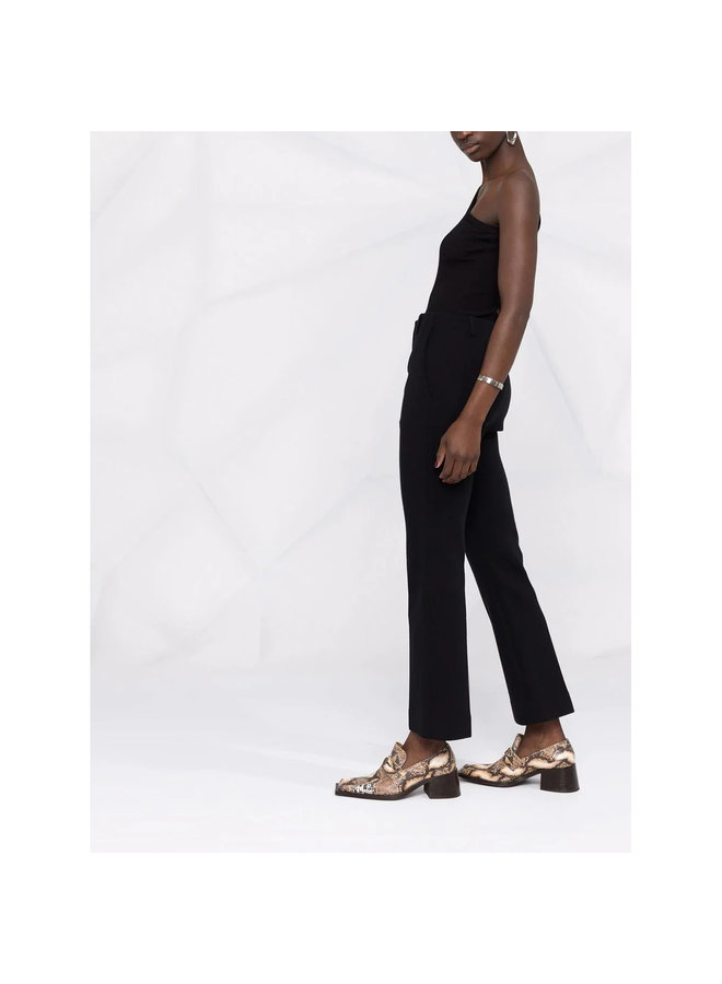 High Waisted Cropped Flared Pants in Wool Jersey in Black