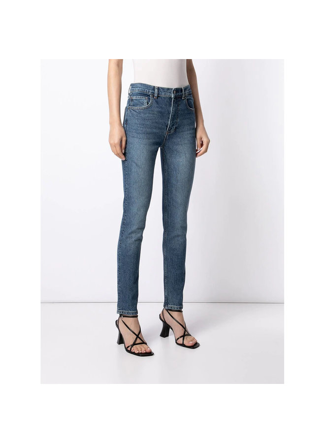 The Zachary High Waisted Slim Fit Jeans in Cotton in Washed Blue