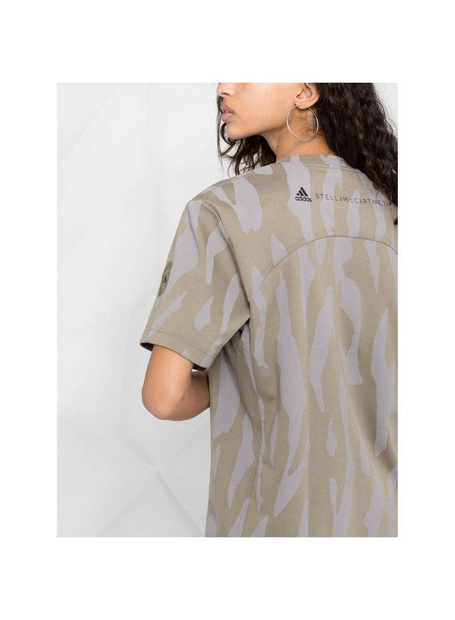 T-shirt in Animal Zebra Print in Cotton in Clay