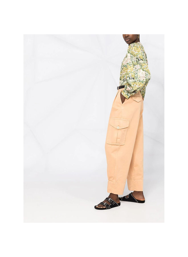 High Waisted Pants in Cotton in Pink