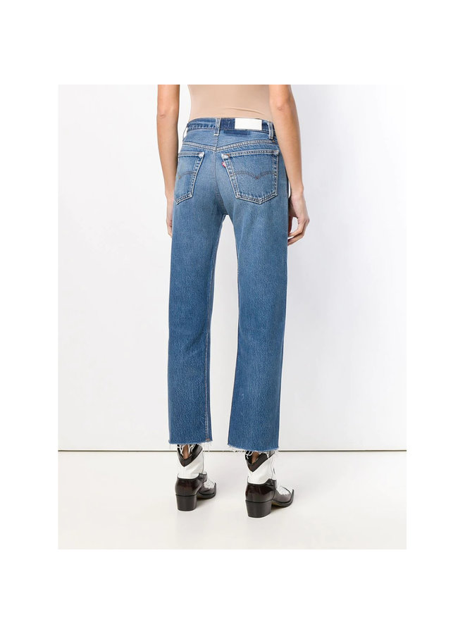 High Waisted Stove Pipe Cropped Jeans in Indigo Blue