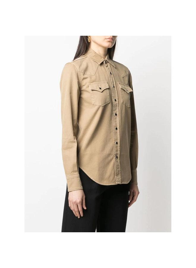 Long Sleeve Western Shirt in Beige