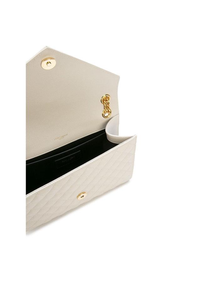 Envelope Medium Shoulder Bag in Crema/Gold