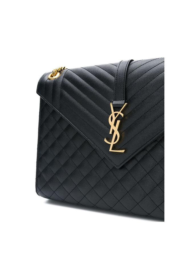 Envelope Large Shoulder Bag in Black/Gold