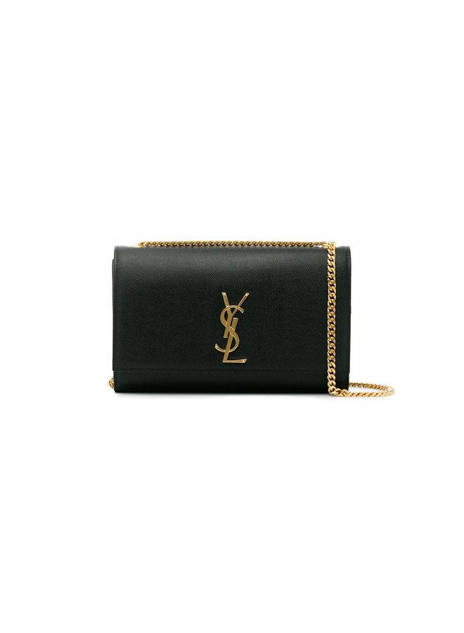 Kate Medium Shoulder Bag in Black/Gold