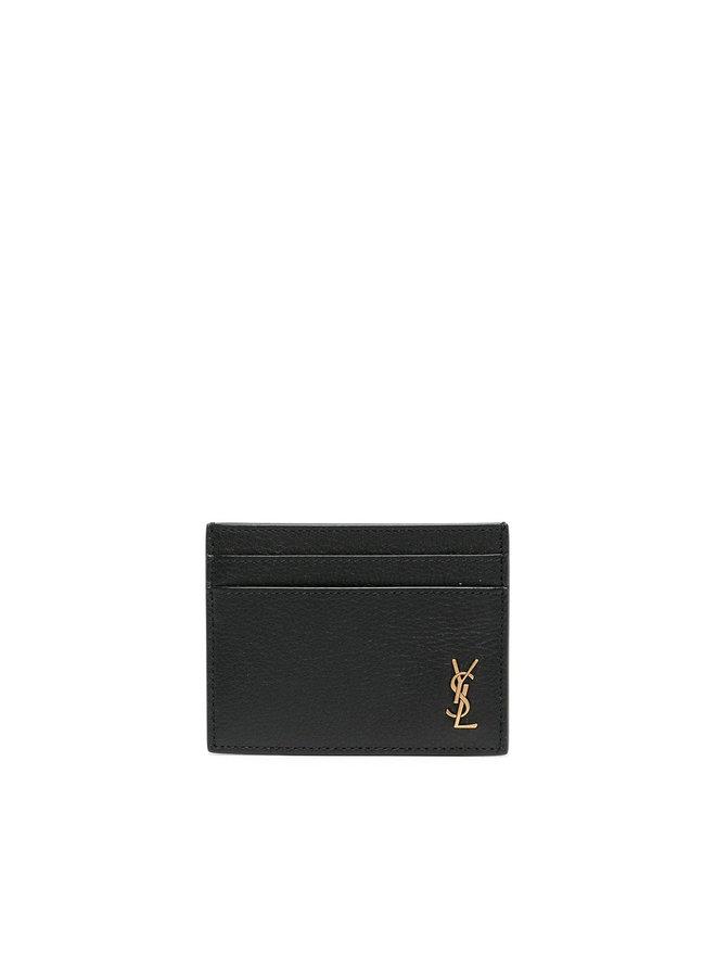 Monogram Plaque CC Holder in Black/Gold